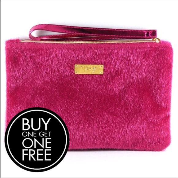 "81c6267f94 ipsy ""Carpe P.M."" Pink Fur Glam Bag Makeup Case"